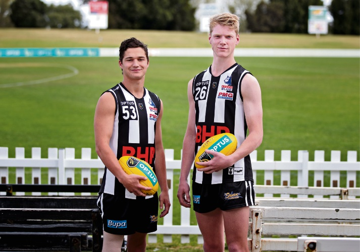 L-R: Swan Districts players Riley Garcia of Jane Brook and Jake Pasini of Maida Vale. Picture: David Baylis www.communitypix.com.au   d495819