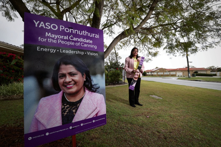 Yaso Ponnuthurai says thieves and vandals have disrupted her election campaign. Pic by Andrew Ritchie