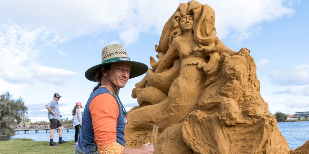 Sand sculptor Tim Darby.