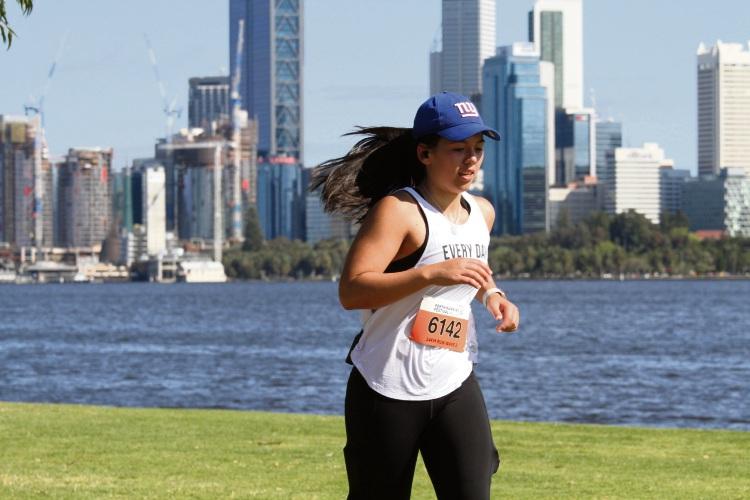 Emily Vuong preparing for the Perth Running Festival on October 6
