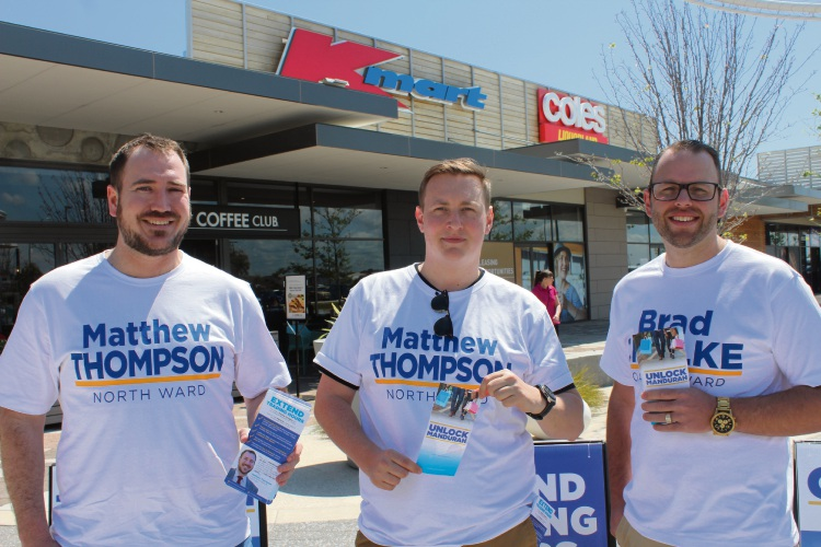 Matthew Thompson, Bradley Chalke and South Metropolitan Region  MLC Aaron Stonehouse.
