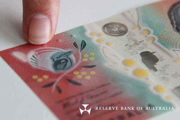 The tactile feature on the new $20 banknote.