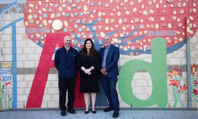 Madeley Primary School principal Lainie Beccegato (centre) with former principal Steve Bevan and foundation principal Kim Anderson.