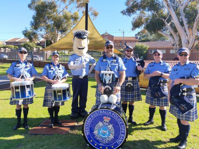 WA Police Pipe Band at last yea'rs Emergency Services Family Fun Day.