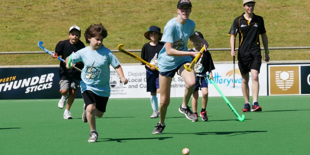 Young hockey players take to the field.