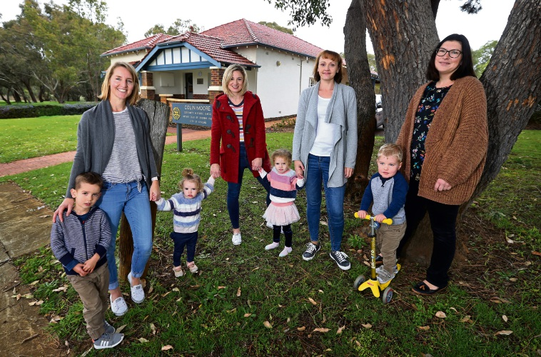 Gwelup Community Corner members Shelley Ahmad with Parker (3), Leah Holmes with Carly (1) and Josie (3), Dayle Williams and Chris Hoetzel with Henry (3).  Photo: David Baylis