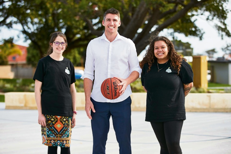 Damian Martin with Stirling Youth Advocates Naomi Blitz and Shanieka Ryder.