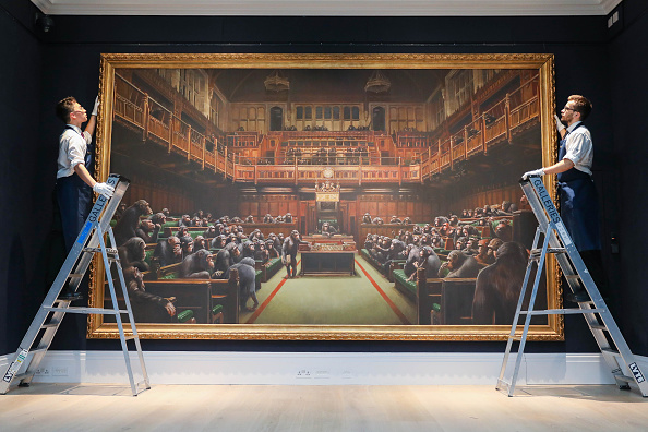 Banksy's Devolved Parliament is displayed to the press at Sotheby's. Picture: Tristan Fewings/Getty Images for Sotheby's