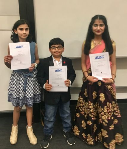 L-R: Ria Sankhla, Atharv Palsodkar and Nitya Tewari, AUSIT Young Translator of the Year 2019, Hindi language, senior category. Picture: Vida Jafary