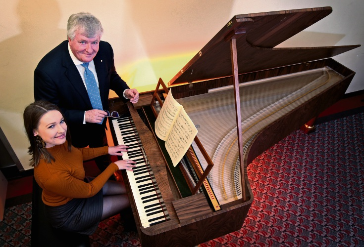 WAAPA PhD student Elly Langford and Professor Geoffrey Lancaster with a piano by Paul McNulty to replicate Beethoven's instrument made by Conrad Graf in 1819. Picture: David Baylis www.communitypix.com.au d496210
