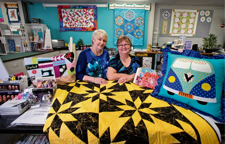 From the First Stitch to the Last business partners Janet Collins and Lynnette Knight in the Wangara store. Pictures: David Baylis www.communitypix.com.au d495956