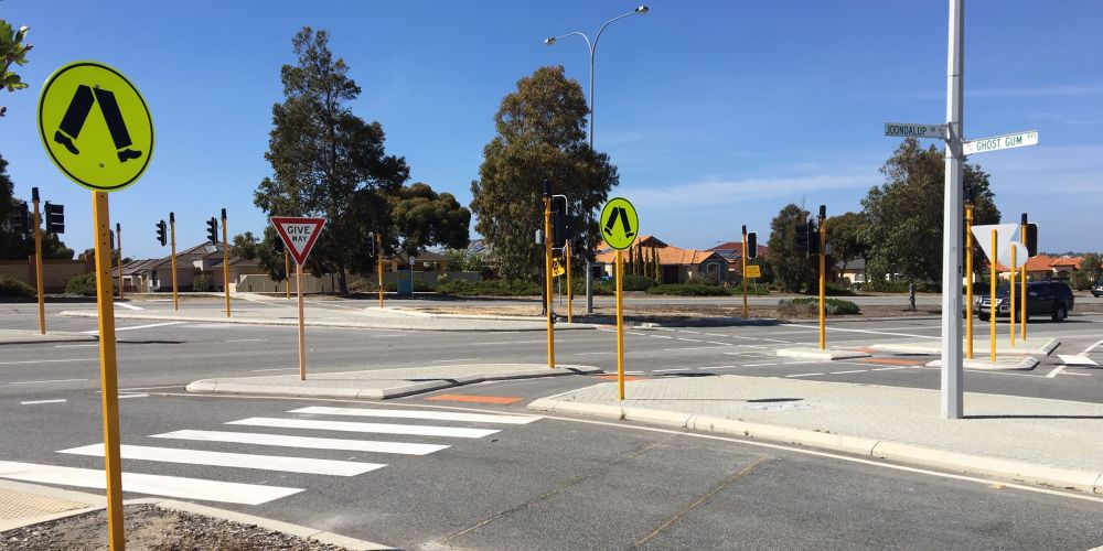 A pedestrian crossing has been installed on Joondalup Drive and Ghost Gum Boulevard.