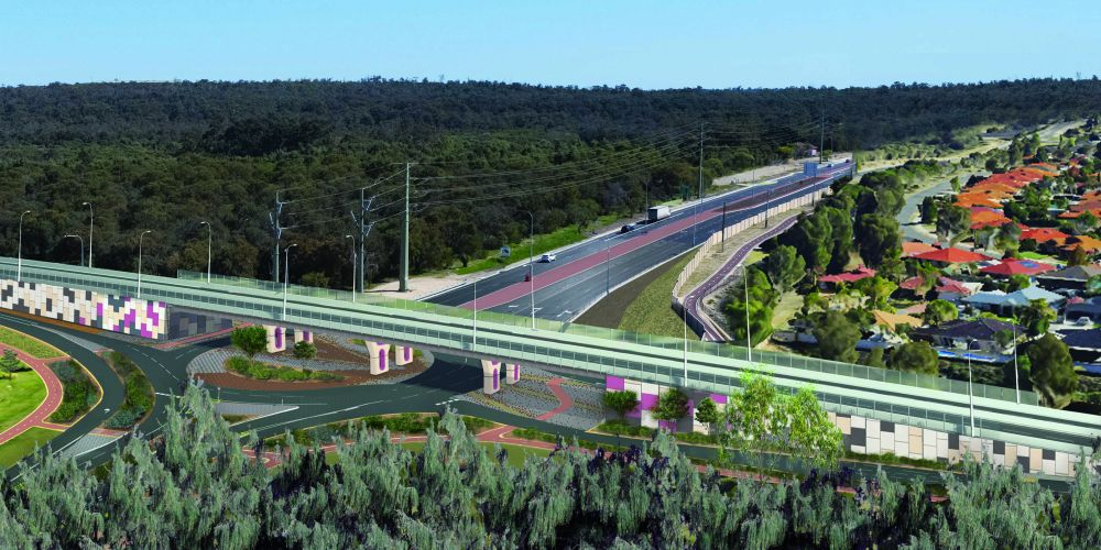 An artist's impression of the Wanneroo Road-Joondalup Drive interchange.