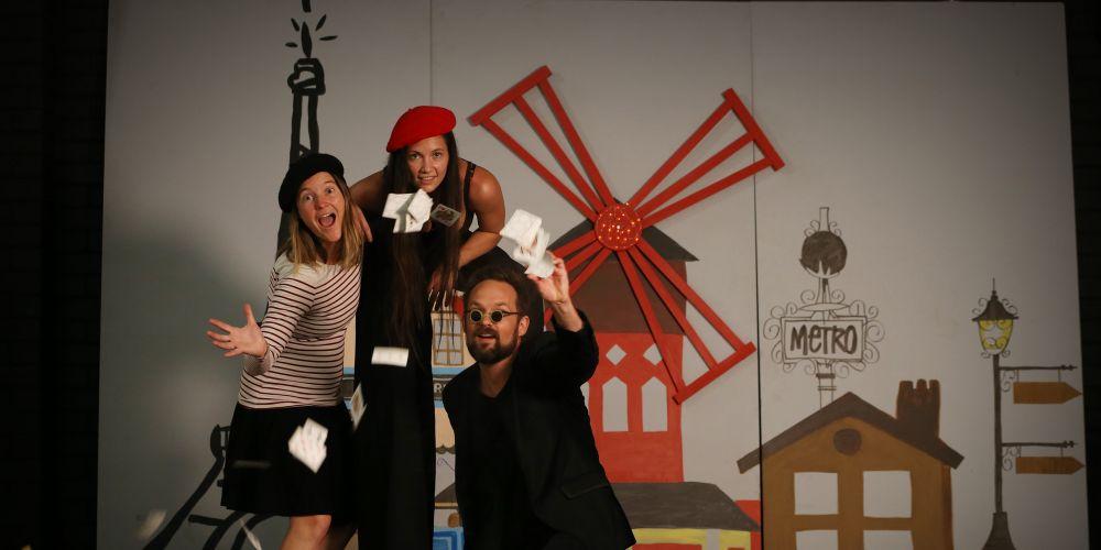 Victoria Levadoux (chairperson Bonjour Perth festival), Ea Sulak (Entrainment coordinator) and Pierre Ulric (magician).