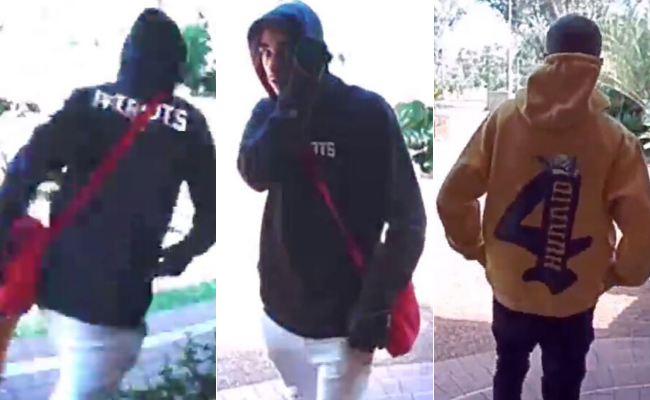 Detectives believe the two males pictured can assist with their inquiries into a violent burglary on Thursday. Anyone who sees the two males is advised not to approach them but call police immediately on 131 444.