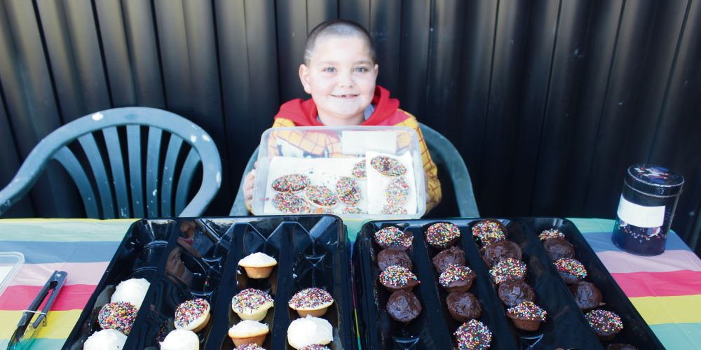 Dudley Park seven-year-old Quentin Fitsgerald raised $400 for Telethon by selling cupcakes.