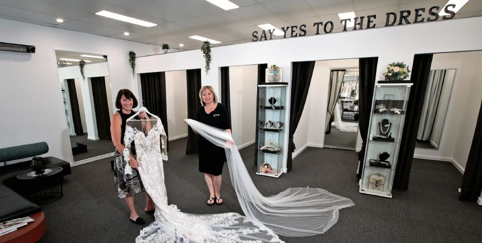 English Rose Bridal owner Jacqui Dunn and bridal consultant Charmaine Murrell in the new Edgewater store. Pictures: David Baylis d496525