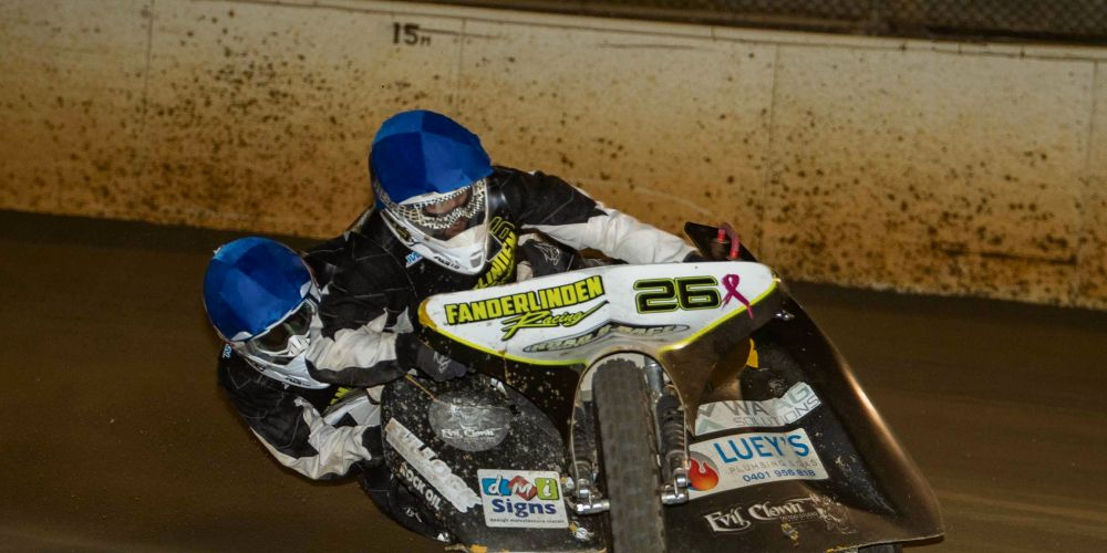 The Fanderlinden brothers won the senior sidecars at the Gordon Rowland Memorial. Picture: Jon Gall Photography