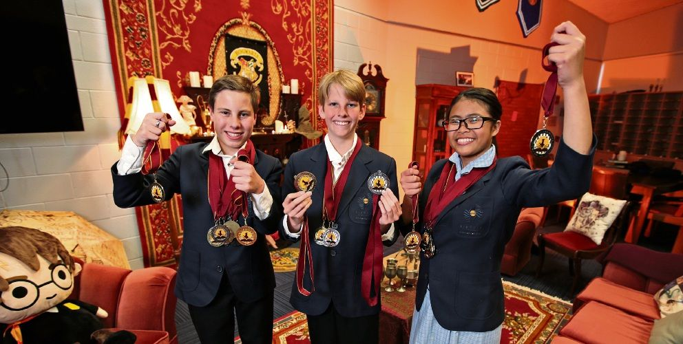 Kinross College Year 8 student Noah Grainger-Love (14), Year 8 student Luke Blasdale (13) and Year 9 student Kezia Principe (14) are off to Yale University. Picture: David Baylis d495712