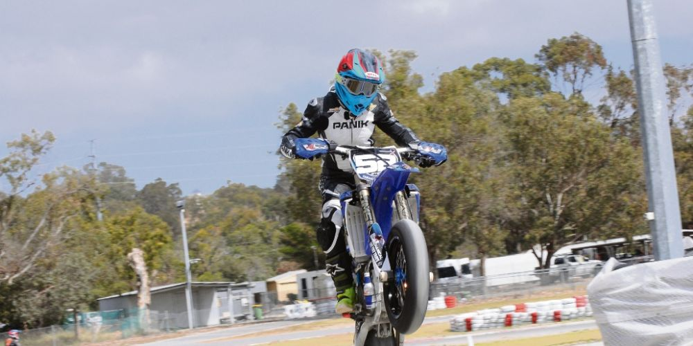 Hannah Stewart at the WA Supermoto State Titles. Pictures: John Innes Photography