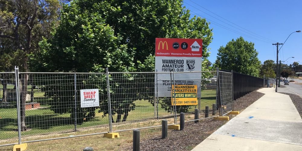 Recent works to replace the fence at Wanneroo Showground.