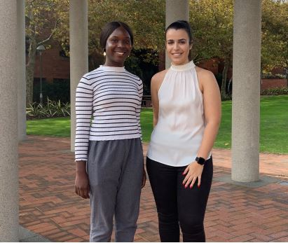 2019 Alcoa Bev Corless Women in Engineering Scholarship recipients Oluwatomisin Adesanya and Taylor Donati from Curtin University.