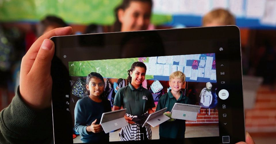 Bentley Primary School students Shivaga Rajesh, Shanaw Beebany and Thomas Fairhead. Picture: Megan Powell/The West Australian