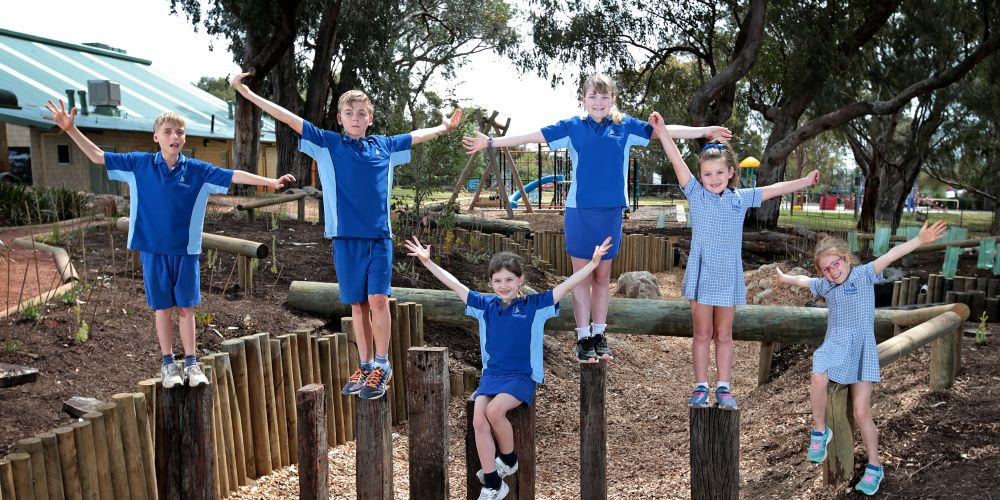Karrinyup Primary School students Luke McParland (11), Henry McParland (11), Makenna Jupp (8), Zoe Jupp (11), Abby Bowe (7) and Charlotte Roberts (6) at the finished nature play space. Photo: David Baylis