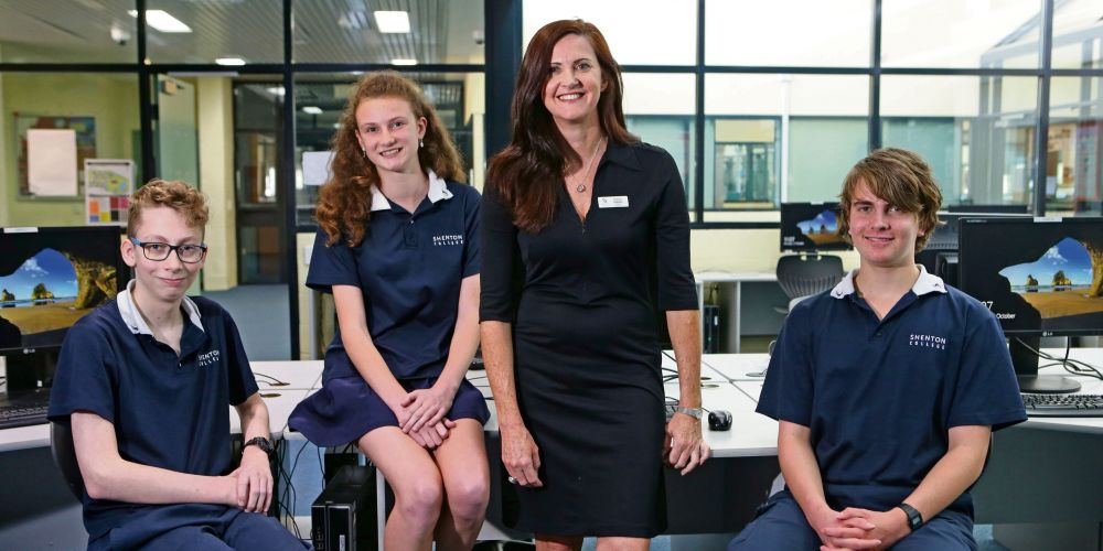 Shenton College Digital Technologies teacher Rachel Farnay with Year 9 students William Scullard, Sophie Pavicic and William Combs. Picture: Megan Powell/The West Australian