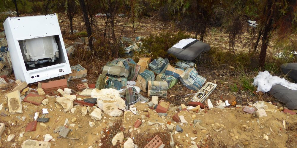 A pamphlet delivery walker was fined for dumping a large quantity of pamphlets in Yanchep. Pictures: DWER