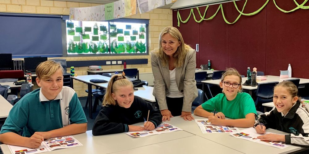 Wanneroo MLA Sabine Winton with Tapping Primary School student leaders Max Taylor, Kate Bernaldo, Alexi Prosper and Millie Cullender.