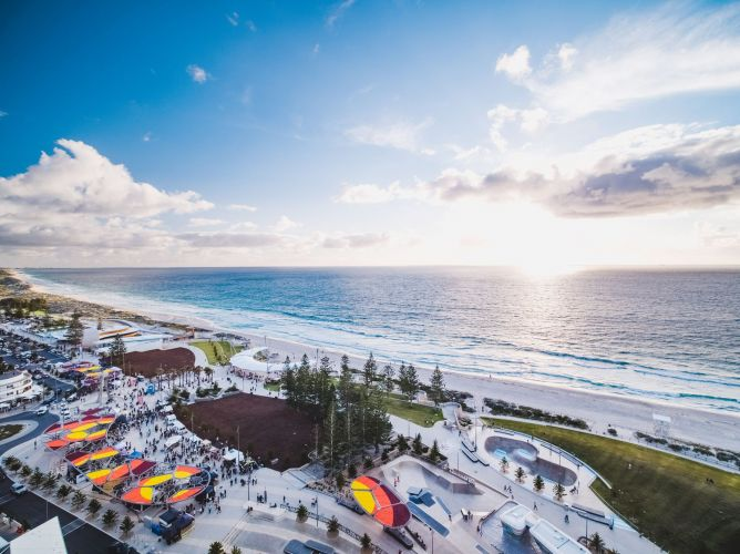 Scarborough Sunset Markets by drone.