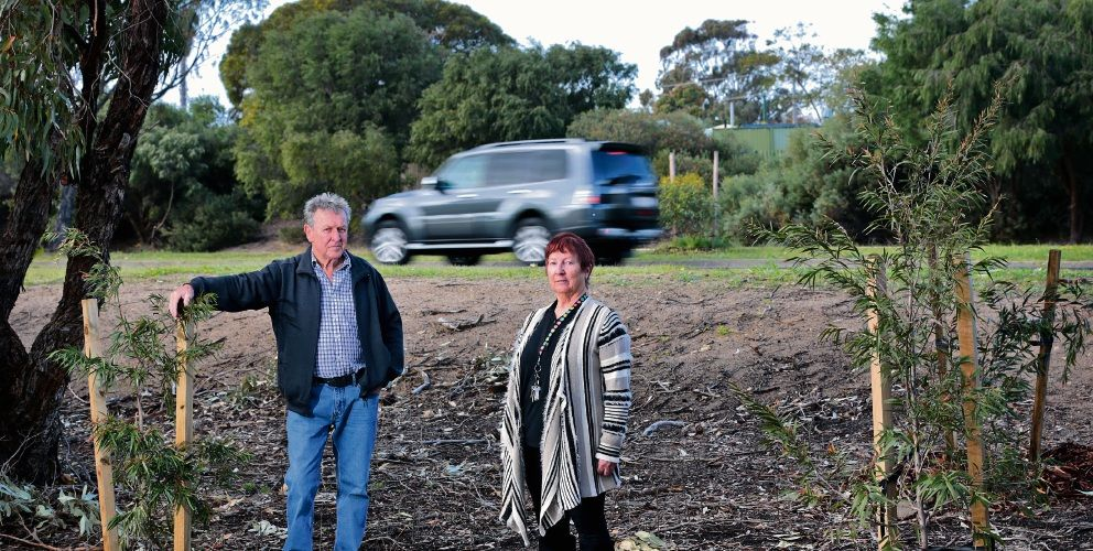 Local Padbury residents Merv Gregory and Shirley Phillips showing the gap between their street and Hepburn Avenue. Pictures: David Baylis d495462