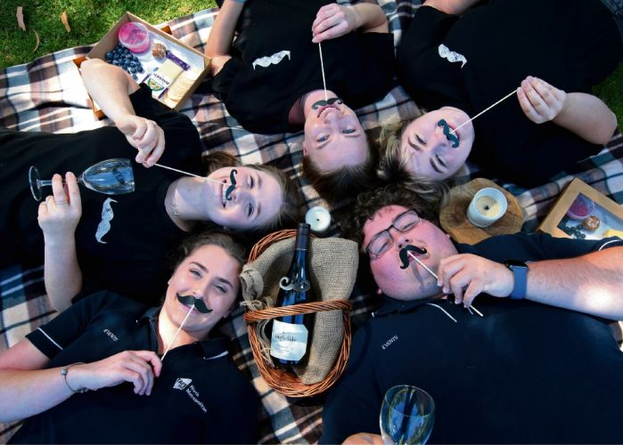 Telia Voss, Emily Sullivan, Jessica White, Harriet Springett and Jack Leighton-Jones are hosting a picnic fundraiser for Movember. Picture: David Baylis d496626