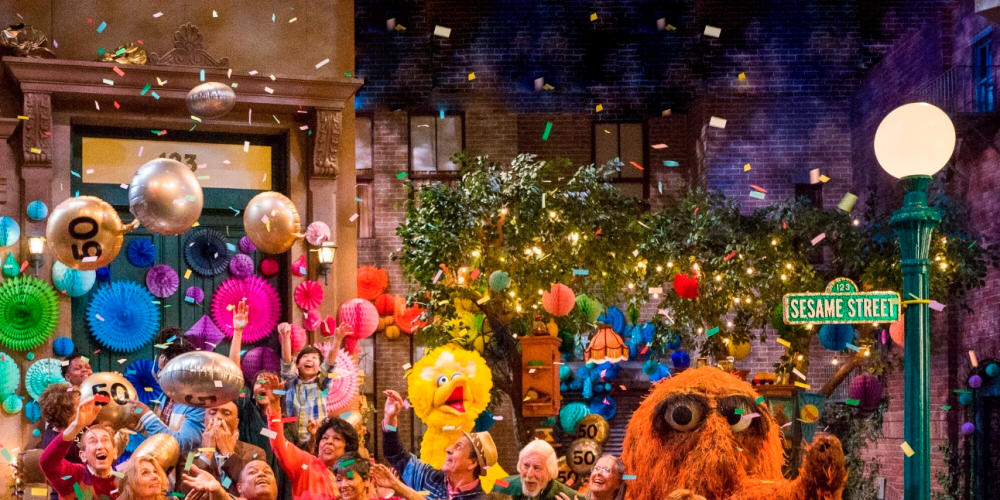 The cast of Sesame Street during a celebration of their 50th season of the popular children's TV show. Picture: Richard Termine/HBO via AP