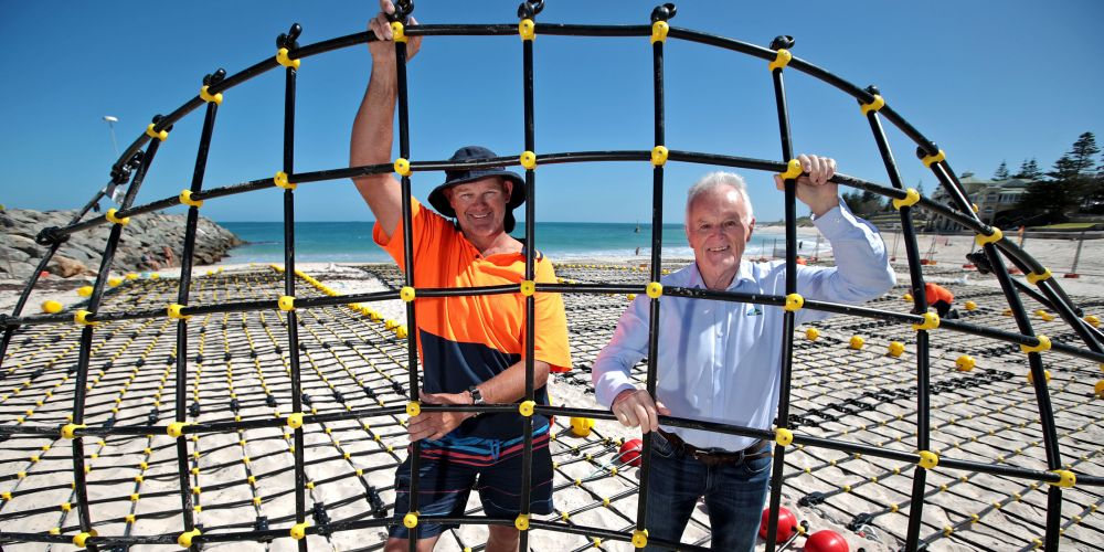 Eco Shark Barrier CEO Craig Moss and Town of Cottesloe Mayor Phil Angers at Cottesloe Beach for the new shark barrier installation. Picture: David Baylis
