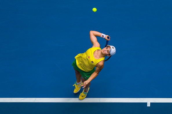 Ashleigh Barty of Australia serves during the match against Kristina Mladenovic of France in the 2019 Fed Cup Final tie between Australia and France at RAC Arena. Picture: Andy Cheung/Getty Images