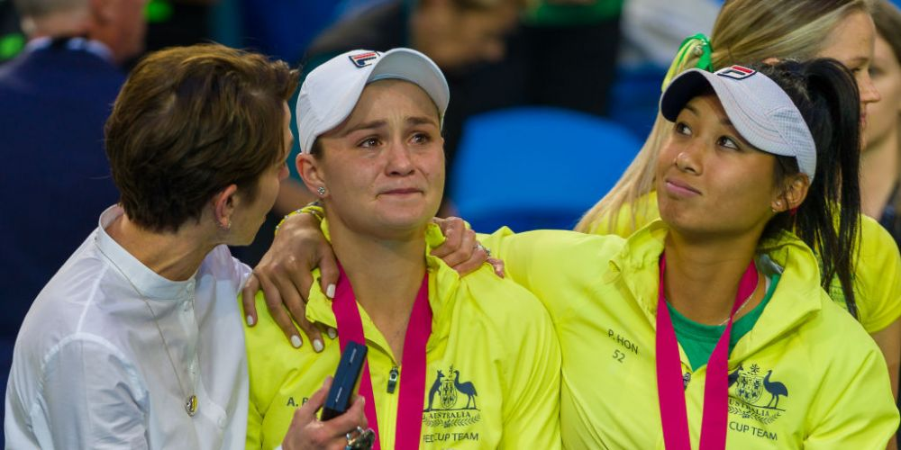 Ash Barty lets the emotion out. Photo: Getty