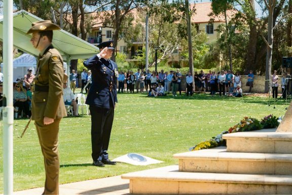 Michal Mikeska, of the Royal Australian Air Force, at the Central Park War Memorial in Joondalup. Pictures: Stewart Allen