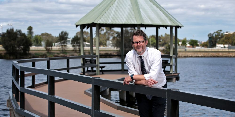City of Bayswater Mayor Dan Bull at the jetty at Riverside Gardens in Bayswater.  Picture: David Baylis   www.communitypix.com.au  d496489