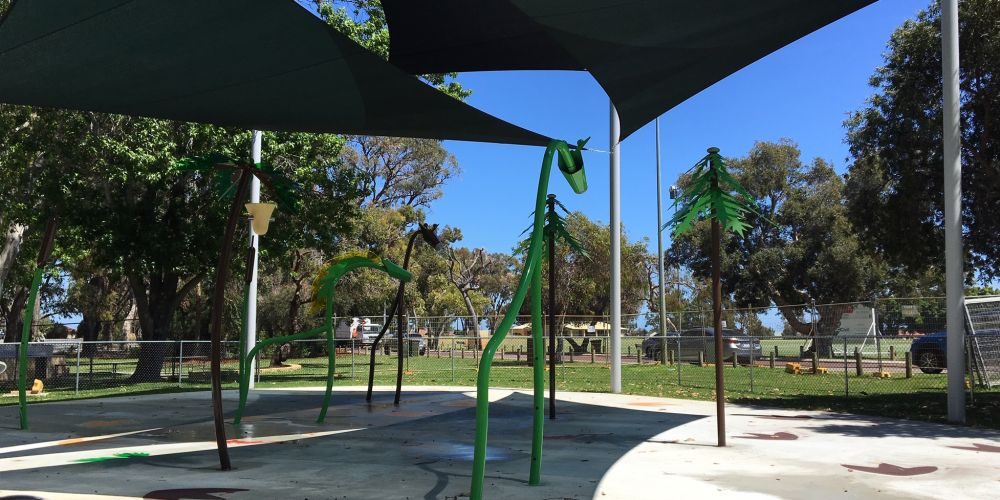 The dinosaur-themed water playground at Kingsway Regional Sporting Complex.