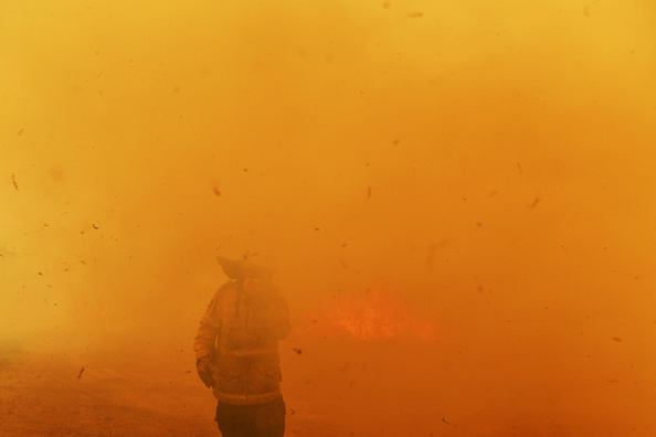Firefighters battle a spot fire amid catastrophic fire conditions. Picture: Sam Mooy/Getty Images