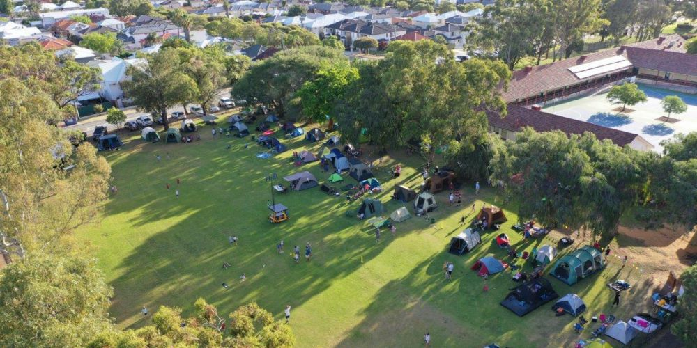 Parents and students camped out at Newborough Primary School. Photo: Richard Goodwin
