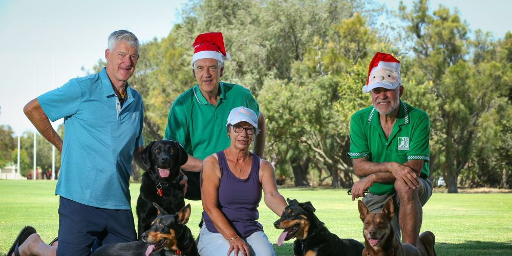 Kevin Vear with Ernie and Cody, Rob Willis, Pauline Vear with Harley and Rob Taddeo with Milo prepare for the 10th annual Santa Paws event at Peter Ellis Park. Picture: Andrew Ritchie www.communitypix.com.au d496834a