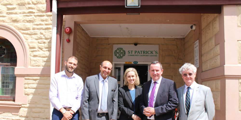 Ruah Community Services housing and homelessness executive manager Sam Knight, St Patrick's Community Support Centre chief executive Michael Piu, Fremantle MLA Simone McGurk, Premier Mark McGowan and St Patrick's board chairman Patrick Colgan.