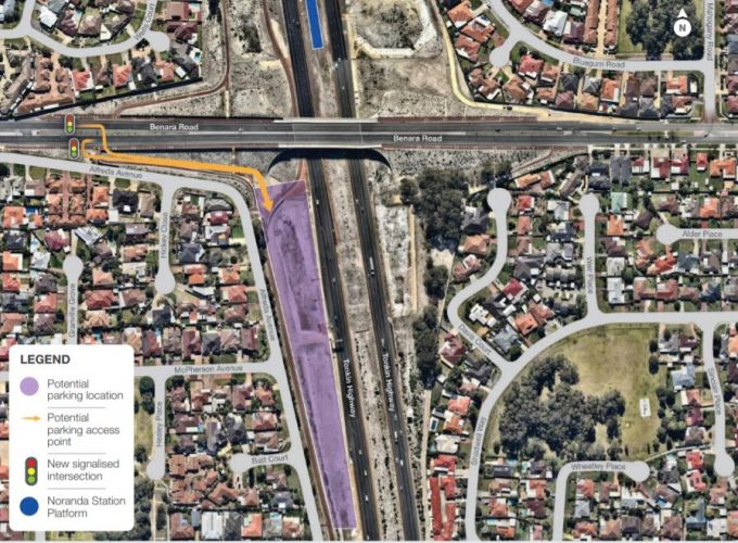 Option one out of three proposed carpark locations at the future Noranda station. Picture: Metronet