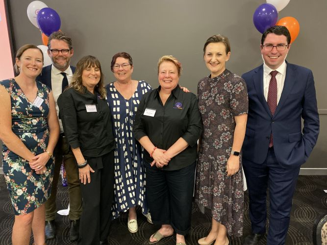 Orana House's Claire, Regina and Mel with Bayswater Mayor Dan Bull, Maylands MLA Lisa Baker, Morley MLA Amber-Jade Sanderson and Perth MHR Patrick Gorman at the refuge's 30th anniversary celebration.