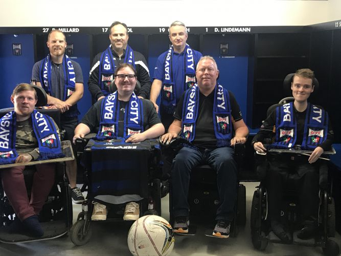 Back Row (Left to Right) – Justin Lattaway (State Team Coach) Oriano Colli (Vice President Bayswater City SC) , Rocco Maio ( Club Operations Manager) Front Row (Left to Right) – Aiden Jones (Player) , Jakob Rathayeke (Player), Jason Lewis (President Western Australian Powerchair Football Assoc & Player), Dylan Needham (Player)