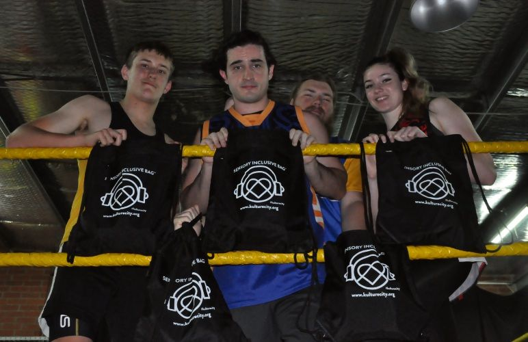 New Horizons Pro Wrestling wrestlers showing off the new sensory bags. Photo: Ben Smith.