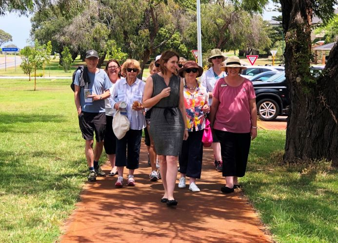 Cambridge mayor Keri Shannon leads a group on the walking trail in City Beach